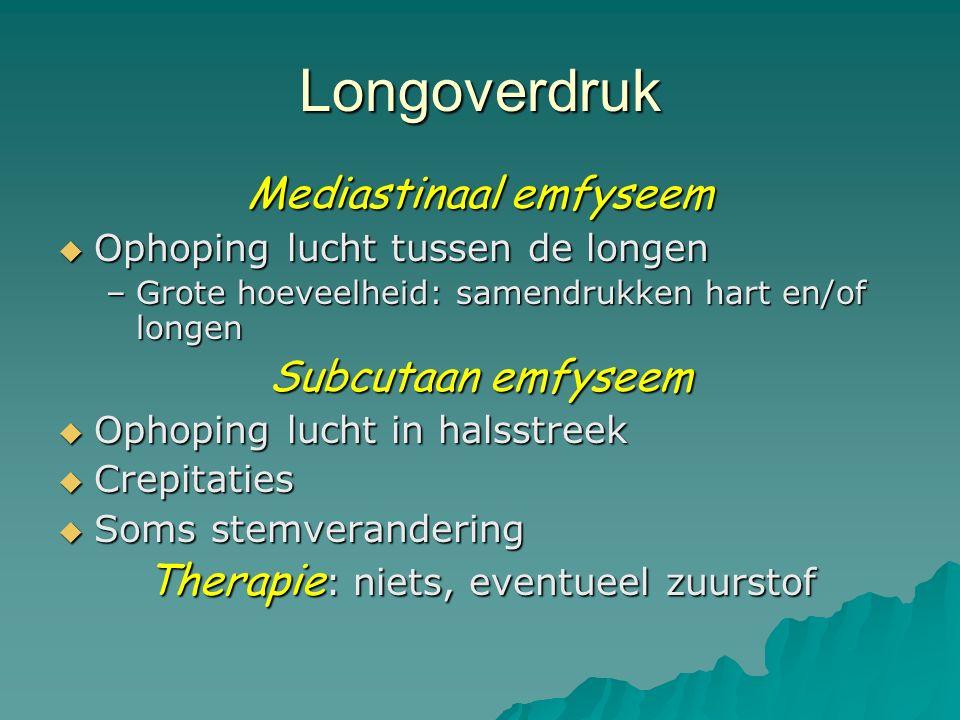 Longoverdruk Mediastinaal emfyseem  Ophoping lucht tussen de longen –Grote hoeveelheid: samendrukken hart en/of longen Subcutaan emfyseem  Ophoping