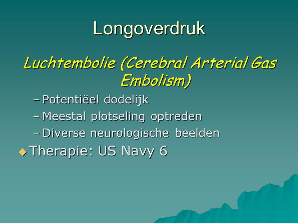 Longoverdruk Luchtembolie (Cerebral Arterial Gas Embolism) –Potentiëel dodelijk –Meestal plotseling optreden –Diverse neurologische beelden  Therapie: US Navy 6