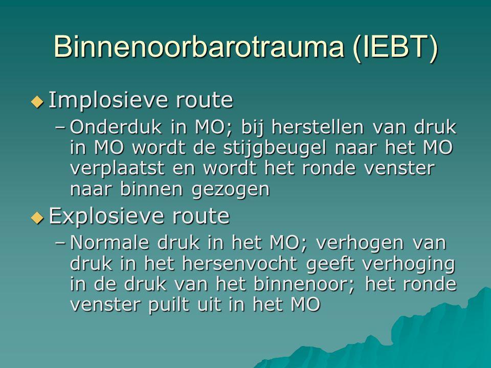 Binnenoorbarotrauma (IEBT)  Implosieve route –Onderduk in MO; bij herstellen van druk in MO wordt de stijgbeugel naar het MO verplaatst en wordt het