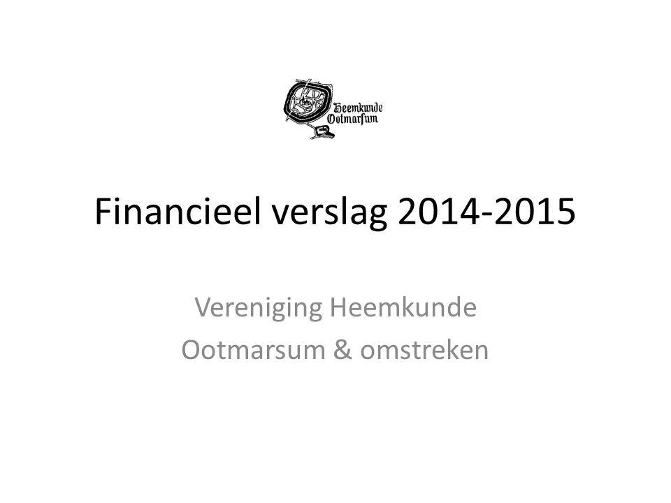 Financieel verslag 2014-2015 Vereniging Heemkunde Ootmarsum & omstreken