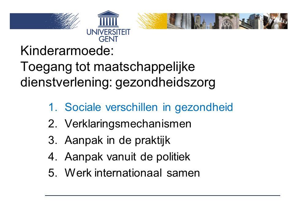 Stad Gent (225.000 inw.) →Implementatie Local Sociaal Beleid: 11 clusters: −Werk −Interculturaliteit −Kritisch inkomen −Senioren −… −Gezondheid Top-prioriteiten: →Leefomstandigheden (woning) →Toegang tot gezondheidspromotie en -zorg Creatie van een Stedelijke Gezondheidsraad Intersectorale actie rond gezondheid: meso