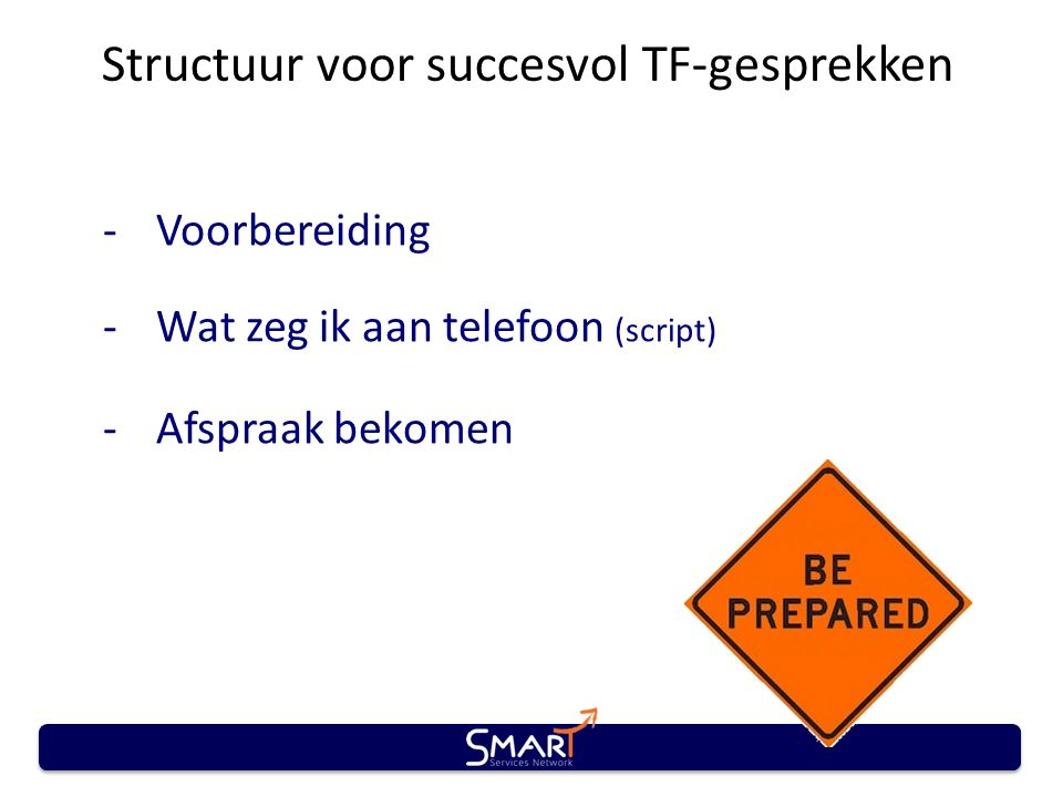 Structuur voor succesvol TF-gesprekken -Voorbereiding -Wat zeg ik aan telefoon (script) -Afspraak bekomen