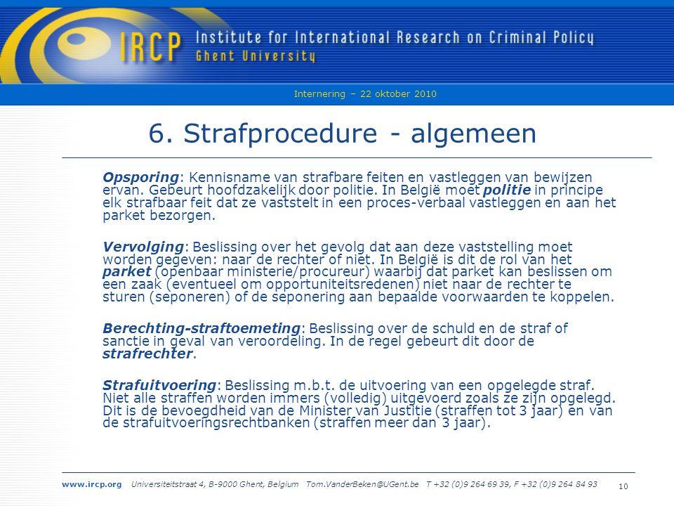 www.ircp.org Universiteitstraat 4, B-9000 Ghent, Belgium Tom.VanderBeken@UGent.be T +32 (0)9 264 69 39, F +32 (0)9 264 84 93 Internering – 22 oktober 2010 10 6.
