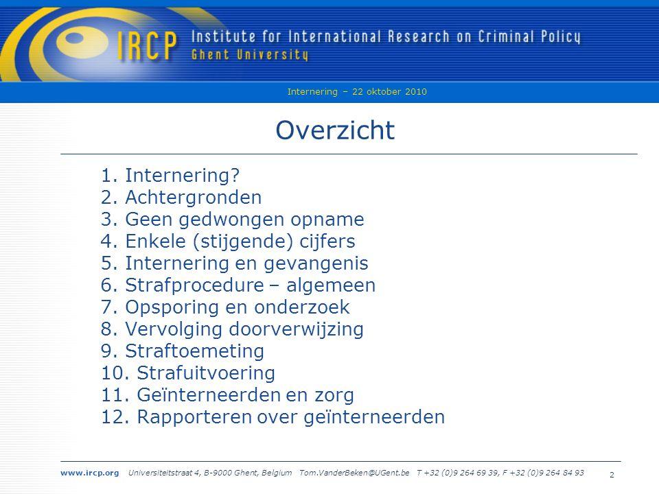www.ircp.org Universiteitstraat 4, B-9000 Ghent, Belgium Tom.VanderBeken@UGent.be T +32 (0)9 264 69 39, F +32 (0)9 264 84 93 Internering – 22 oktober 2010 2 Overzicht 1.