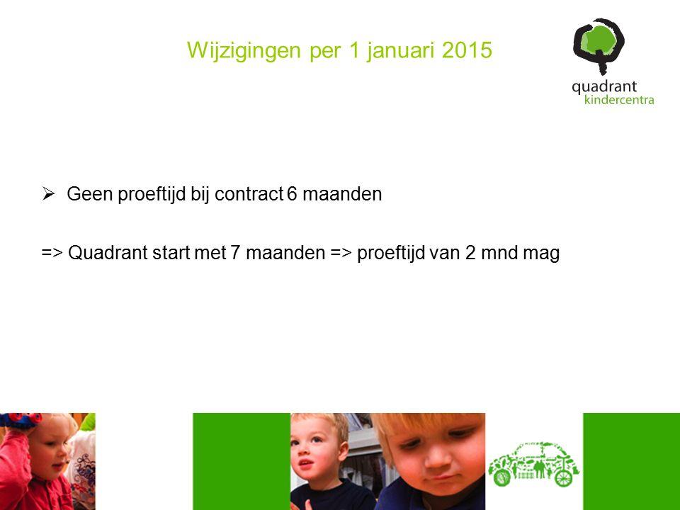 Wijzigingen per 1 januari 2015  Geen proeftijd bij contract 6 maanden => Quadrant start met 7 maanden => proeftijd van 2 mnd mag