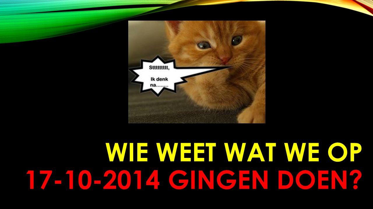 WIE WEET WAT WE OP 17-10-2014 GINGEN DOEN?
