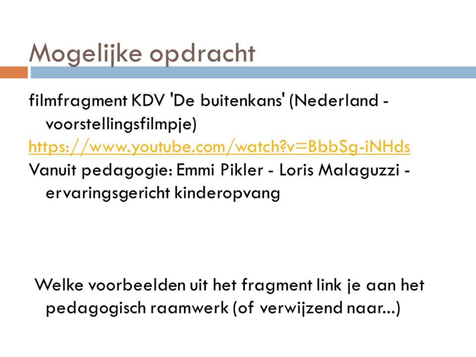 Mogelijke opdracht filmfragment KDV 'De buitenkans' (Nederland - voorstellingsfilmpje) https://www.youtube.com/watch?v=BbbSg-iNHds Vanuit pedagogie: E