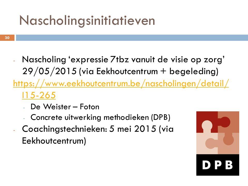 Nascholingsinitiatieven - Nascholing 'expressie 7tbz vanuit de visie op zorg' 29/05/2015 (via Eekhoutcentrum + begeleding) https://www.eekhoutcentrum.