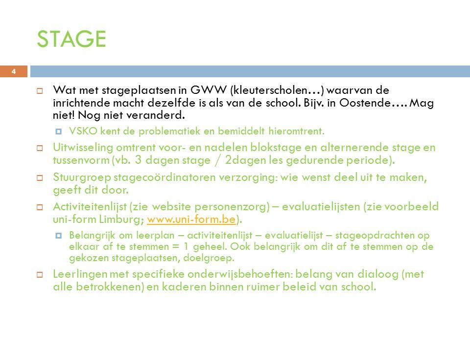 STAGE  Wat met stageplaatsen in GWW (kleuterscholen…) waarvan de inrichtende macht dezelfde is als van de school. Bijv. in Oostende…. Mag niet! Nog n