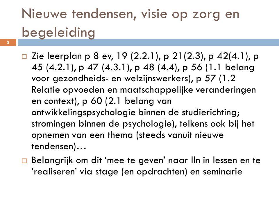Nieuwe tendensen, visie op zorg en begeleiding  Zie leerplan p 8 ev, 19 (2.2.1), p 21(2.3), p 42(4.1), p 45 (4.2.1), p 47 (4.3.1), p 48 (4.4), p 56 (