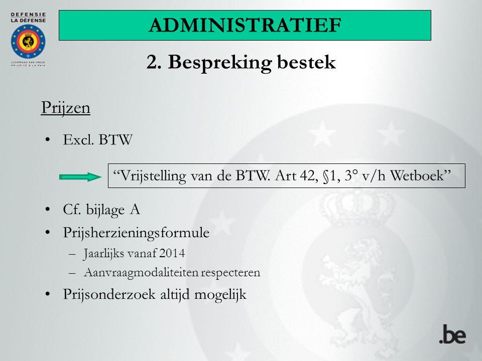 Prijzen Excl. BTW Cf.