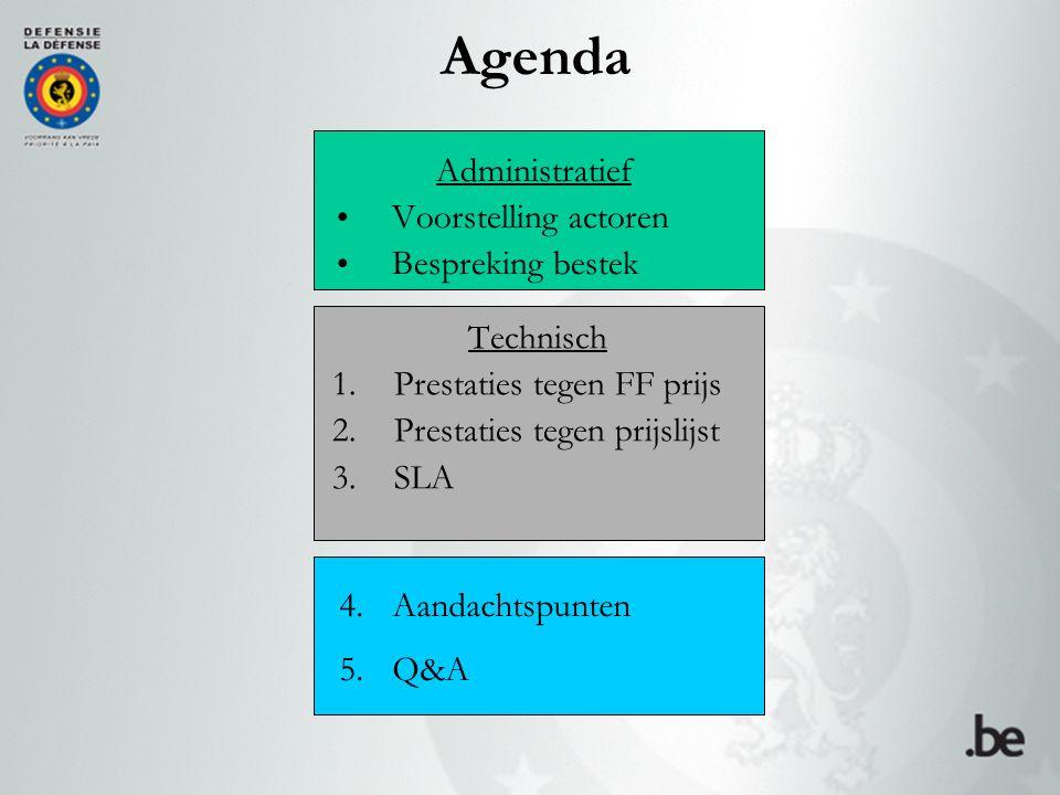 Agenda Administratief Voorstelling actoren Bespreking bestek Technisch 1.Prestaties tegen FF prijs 2.Prestaties tegen prijslijst 3.SLA 4.Aandachtspunten 5.Q&A