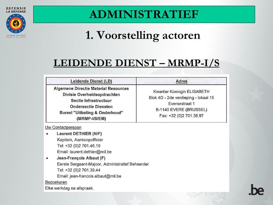 1. Voorstelling actoren LEIDENDE DIENST – MRMP-I/S ADMINISTRATIEF