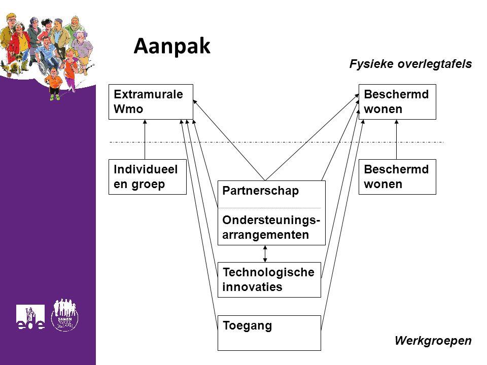 Aanpak Fysieke overlegtafels Extramurale Wmo Beschermd wonen Individueel en groep Beschermd wonen Partnerschap Ondersteunings- arrangementen Technologische innovaties Werkgroepen Toegang