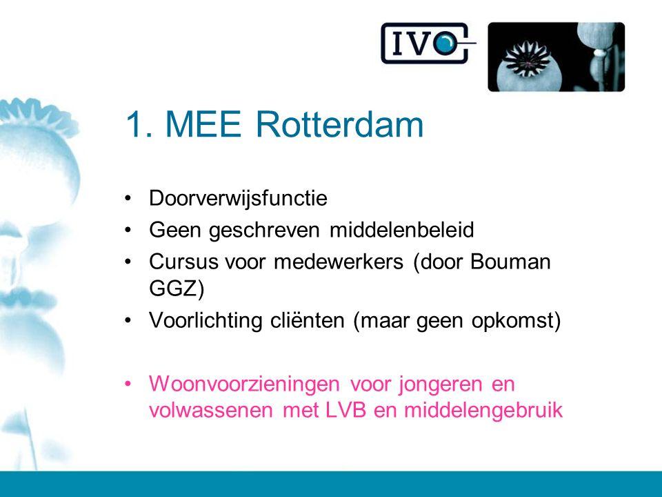 1. MEE Rotterdam Doorverwijsfunctie Geen geschreven middelenbeleid Cursus voor medewerkers (door Bouman GGZ) Voorlichting cliënten (maar geen opkomst)