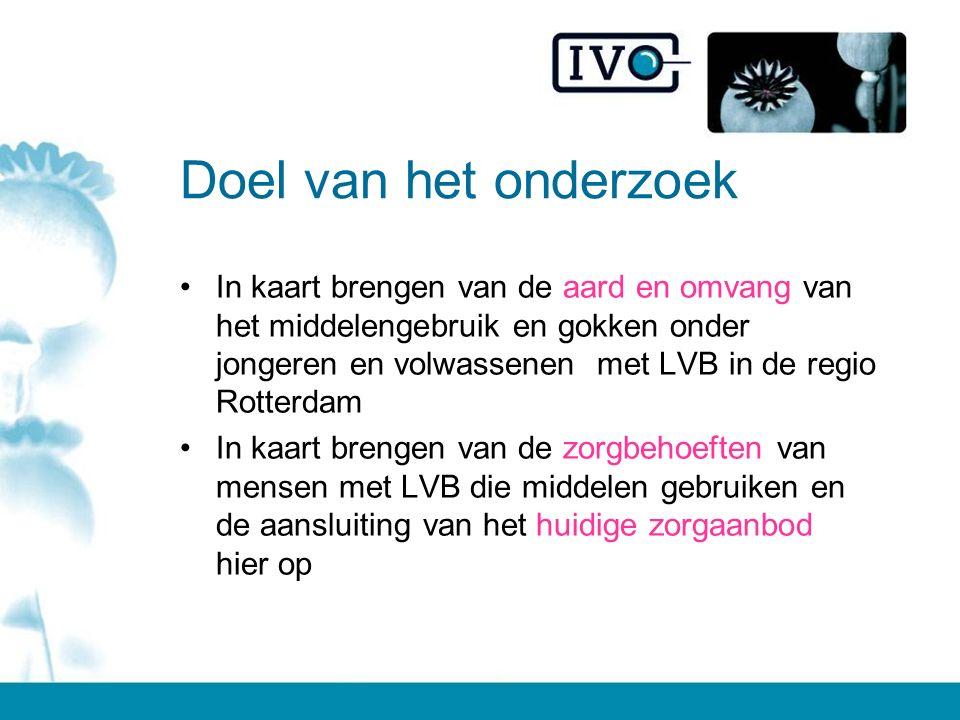 Het onderzoek Twintig interviews –15 professionals –5 mensen met LVB (die middelen gebruiken) Vier settings: Maatschappelijke opvang (alleen volwassenen) (L)VG-zorg (alleen jongeren) Verslavingszorg MEE Rotterdam