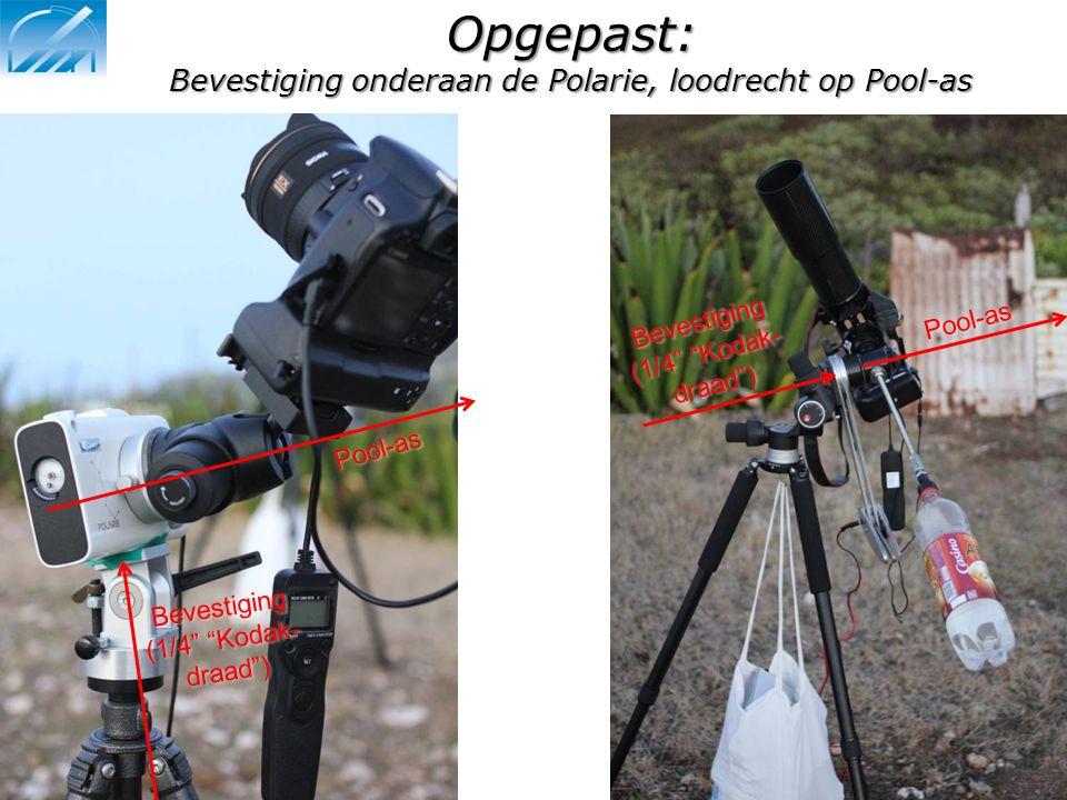 """Opgepast: Bevestiging onderaan de Polarie, loodrecht op Pool-as Pool-as Bevestiging (1/4"""" """"Kodak- draad"""") Pool-as Bevestiging"""