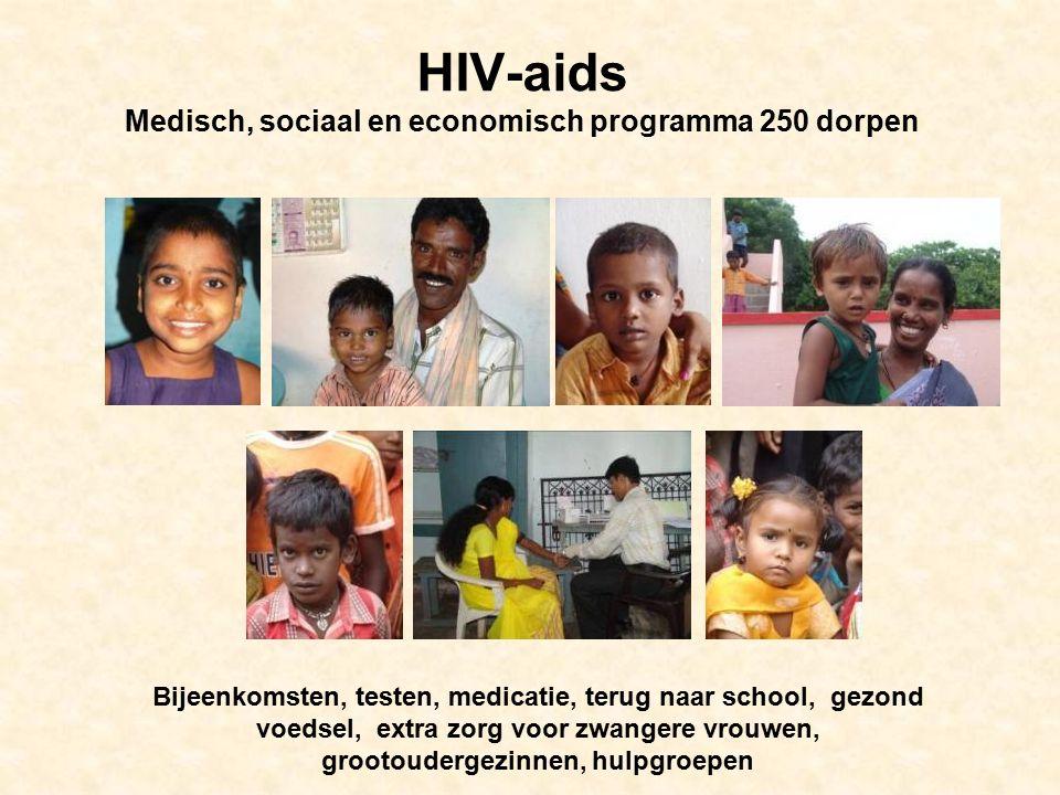 HIV-aids Medisch, sociaal en economisch programma 250 dorpen Bijeenkomsten, testen, medicatie, terug naar school, gezond voedsel, extra zorg voor zwangere vrouwen, grootoudergezinnen, hulpgroepen