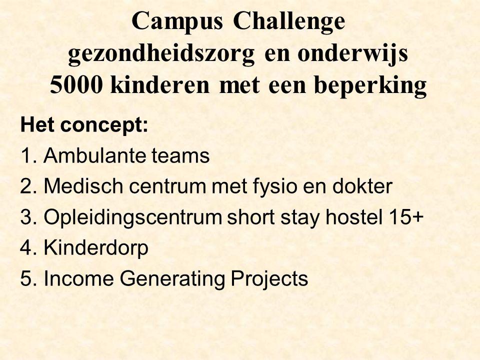 Campus Challenge gezondheidszorg en onderwijs 5000 kinderen met een beperking Het concept: 1. Ambulante teams 2. Medisch centrum met fysio en dokter 3