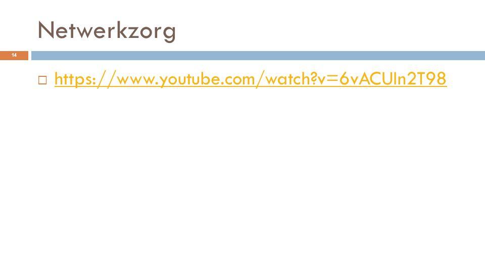 Netwerkzorg  https://www.youtube.com/watch?v=6vACUIn2T98 https://www.youtube.com/watch?v=6vACUIn2T98 14