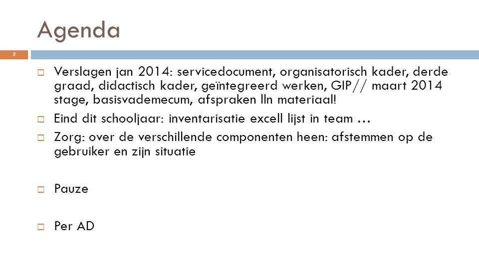 Agenda  Verslagen jan 2014: servicedocument, organisatorisch kader, derde graad, didactisch kader, geïntegreerd werken, GIP// maart 2014 stage, basis