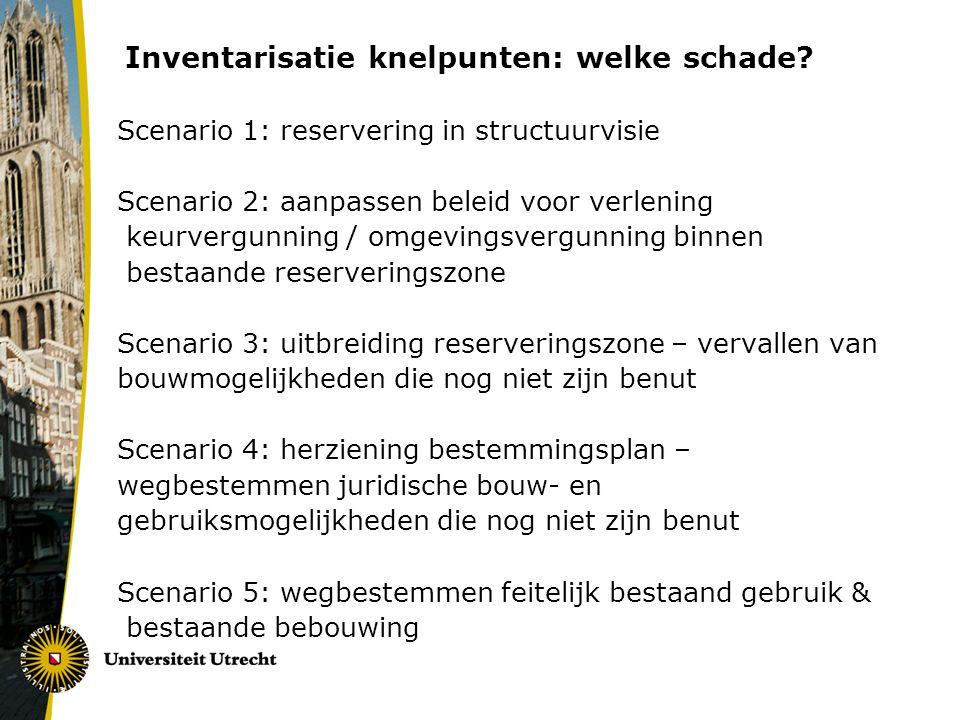 Inventarisatie knelpunten: welke schade? Scenario 1: reservering in structuurvisie Scenario 2: aanpassen beleid voor verlening keurvergunning / omgevi