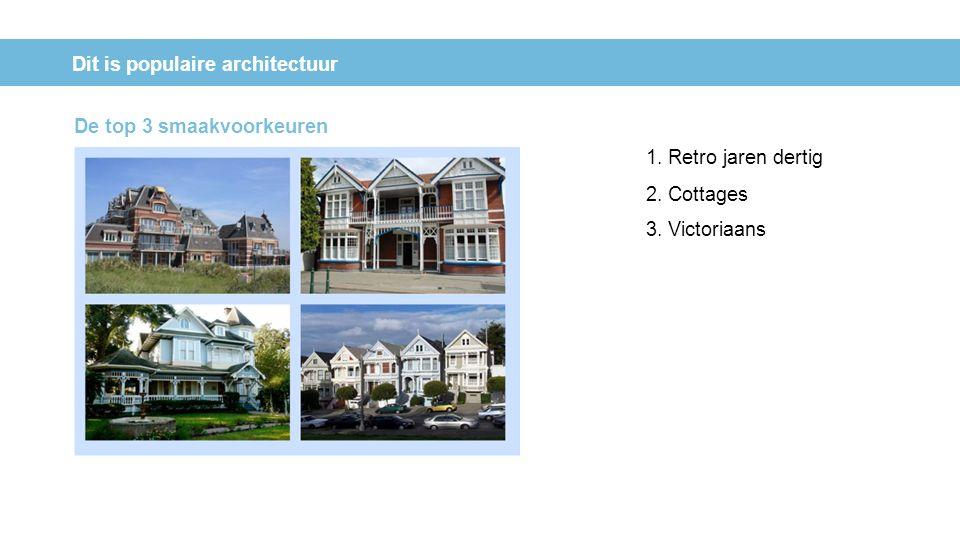 Dit is populaire architectuur 1. Retro jaren dertig 2. Cottages 3. Victoriaans De top 3 smaakvoorkeuren