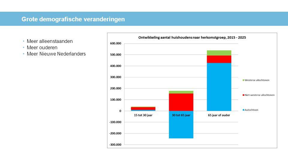 Grote demografische veranderingen Meer alleenstaanden Meer ouderen Meer Nieuwe Nederlanders Ontwikkeling aantal huishoudens naar samenstelling huishou