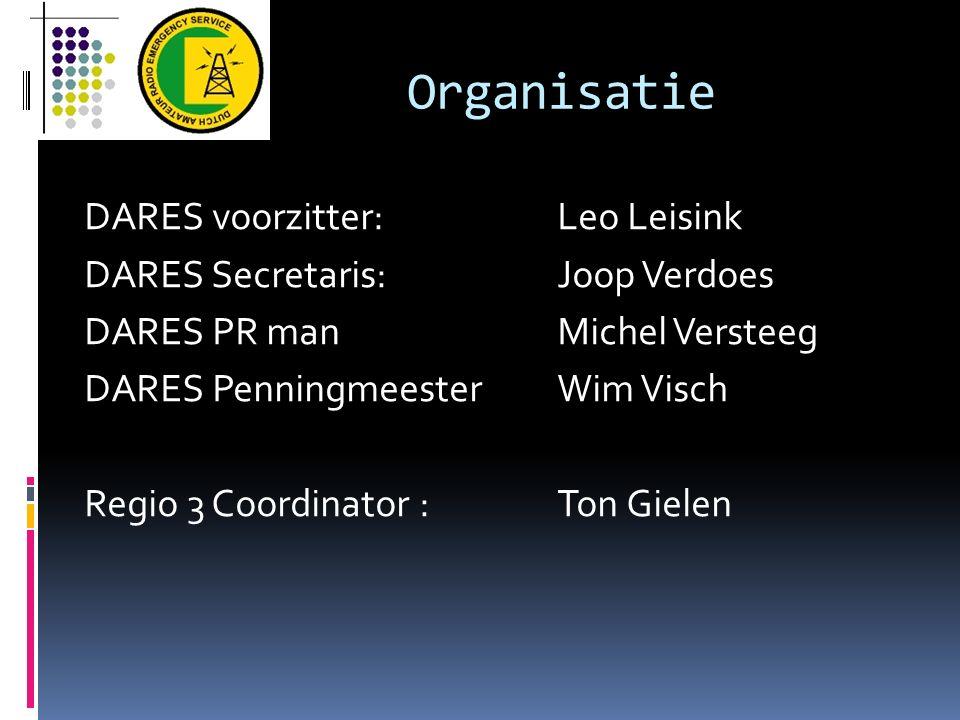 Organisatie DARES voorzitter:Leo Leisink DARES Secretaris:Joop Verdoes DARES PR manMichel Versteeg DARES PenningmeesterWim Visch Regio 3 Coordinator :