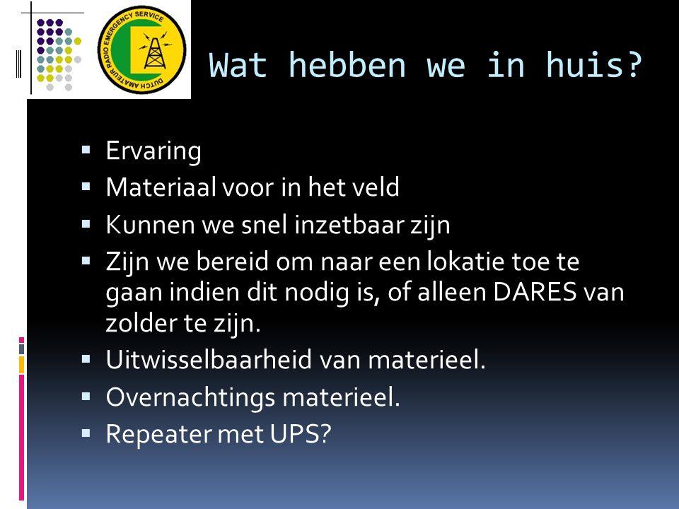 Communicatie plan  Maandelijkse ronde  DARES regio 3 website: http://meteo- sleen.nl/dares Regio en landelijk nieuws Informatie over techniek en organisatiehttp://meteo- sleen.nl/dares  E-mail distributie (kan probleem opleveren : SPAM)  Adverteren via VRZA en VERON in Drenthe