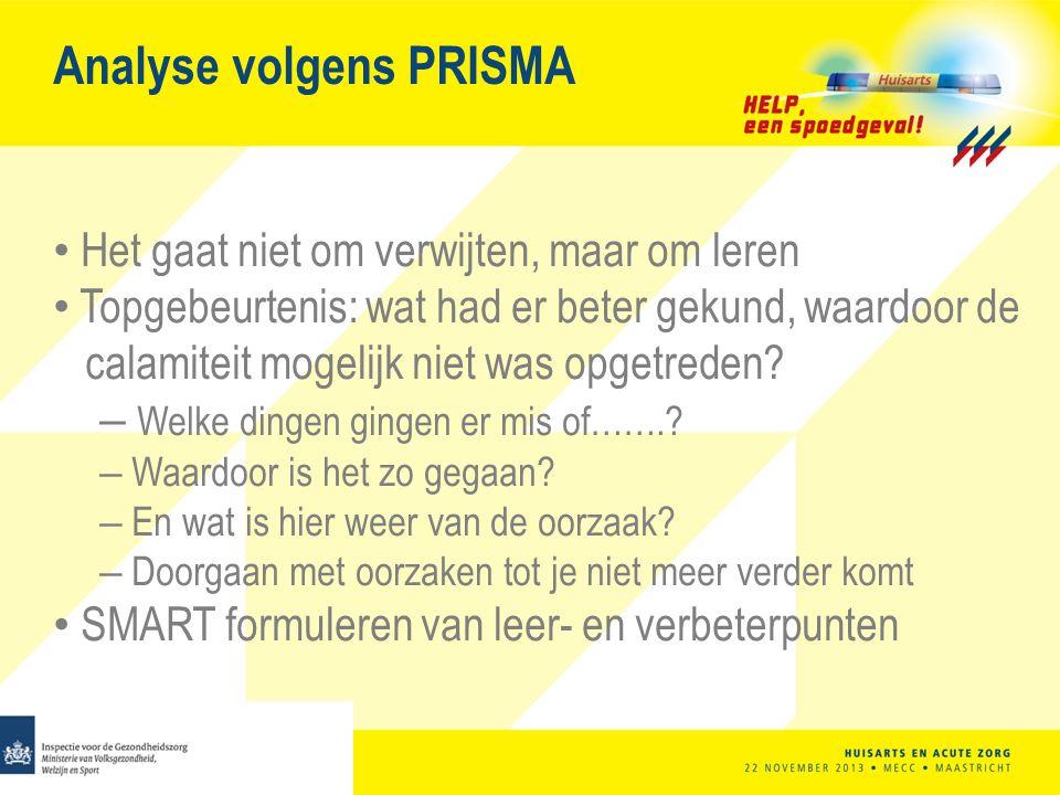 Analyse volgens PRISMA Het gaat niet om verwijten, maar om leren Topgebeurtenis: wat had er beter gekund, waardoor de calamiteit mogelijk niet was opgetreden.