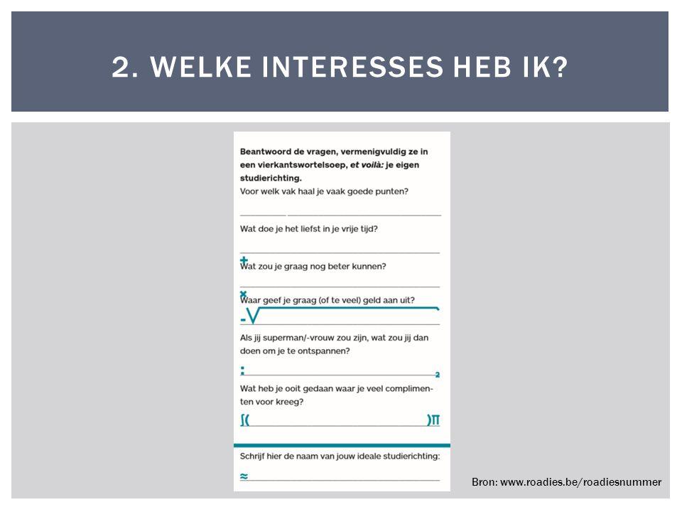2. WELKE INTERESSES HEB IK? Bron: www.roadies.be/roadiesnummer