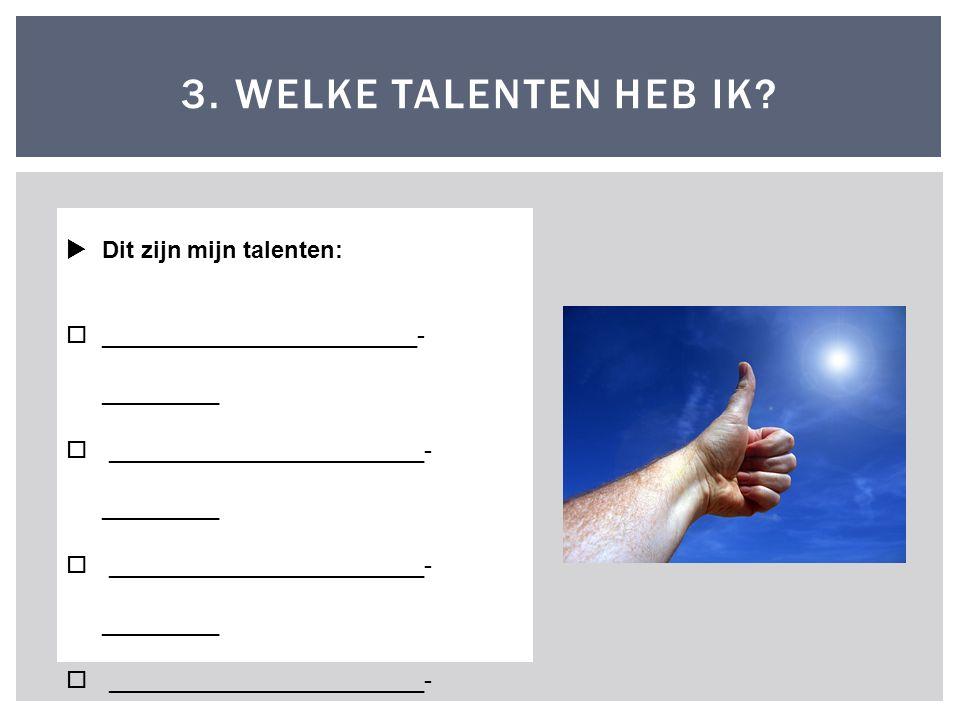 3.WELKE TALENTEN HEB IK.