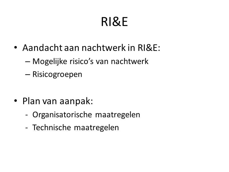 RI&E Aandacht aan nachtwerk in RI&E: – Mogelijke risico's van nachtwerk – Risicogroepen Plan van aanpak: -Organisatorische maatregelen -Technische maa