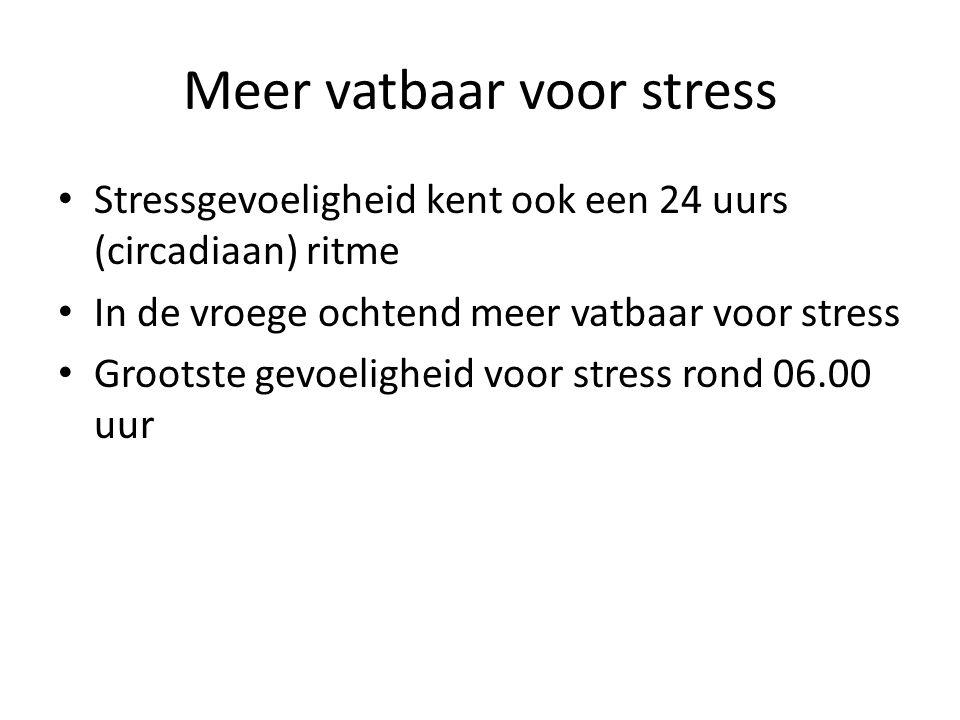 Meer vatbaar voor stress Stressgevoeligheid kent ook een 24 uurs (circadiaan) ritme In de vroege ochtend meer vatbaar voor stress Grootste gevoelighei
