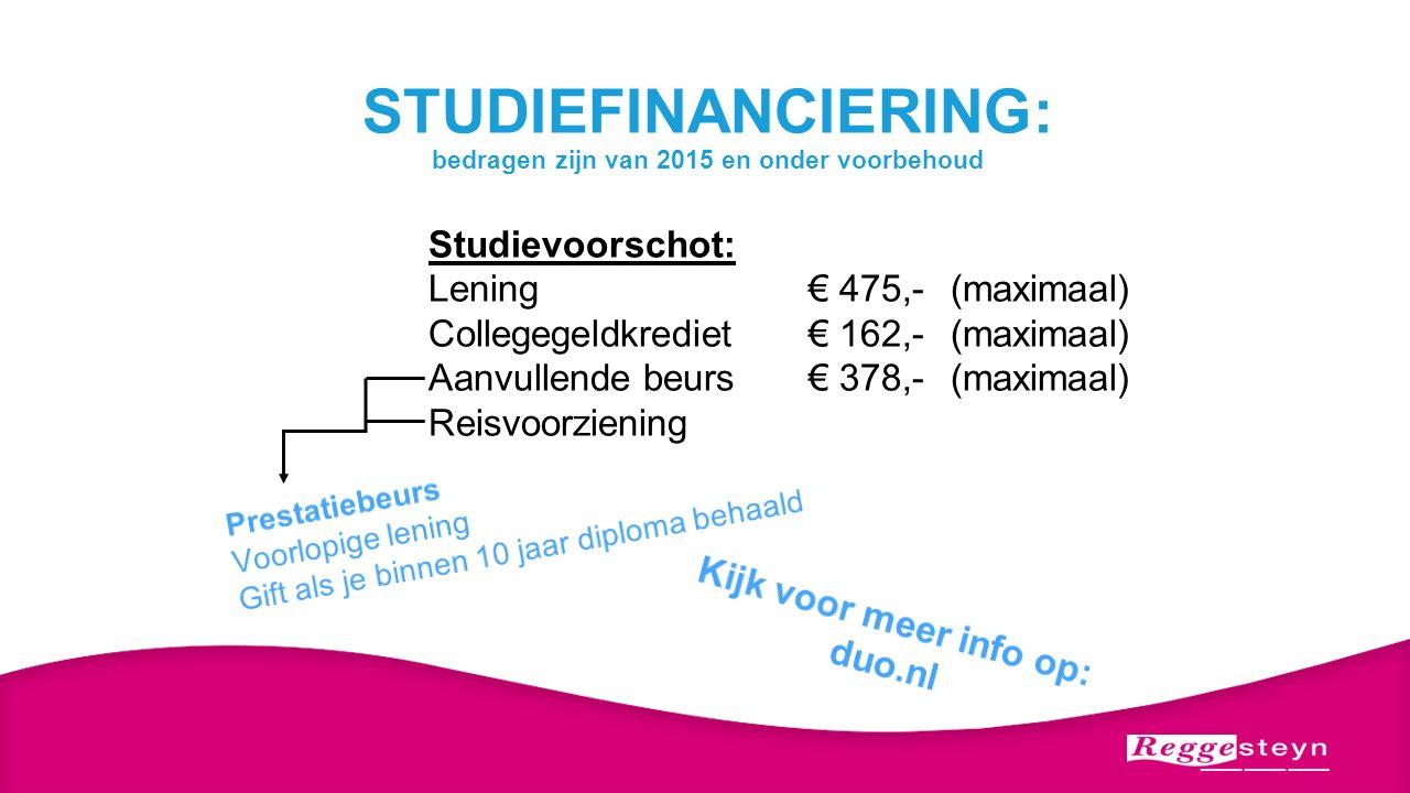 STUDIEFINANCIERING: bedragen zijn van 2015 en onder voorbehoud Studievoorschot: Lening€ 475,-(maximaal) Collegegeldkrediet€ 162,-(maximaal) Aanvullend