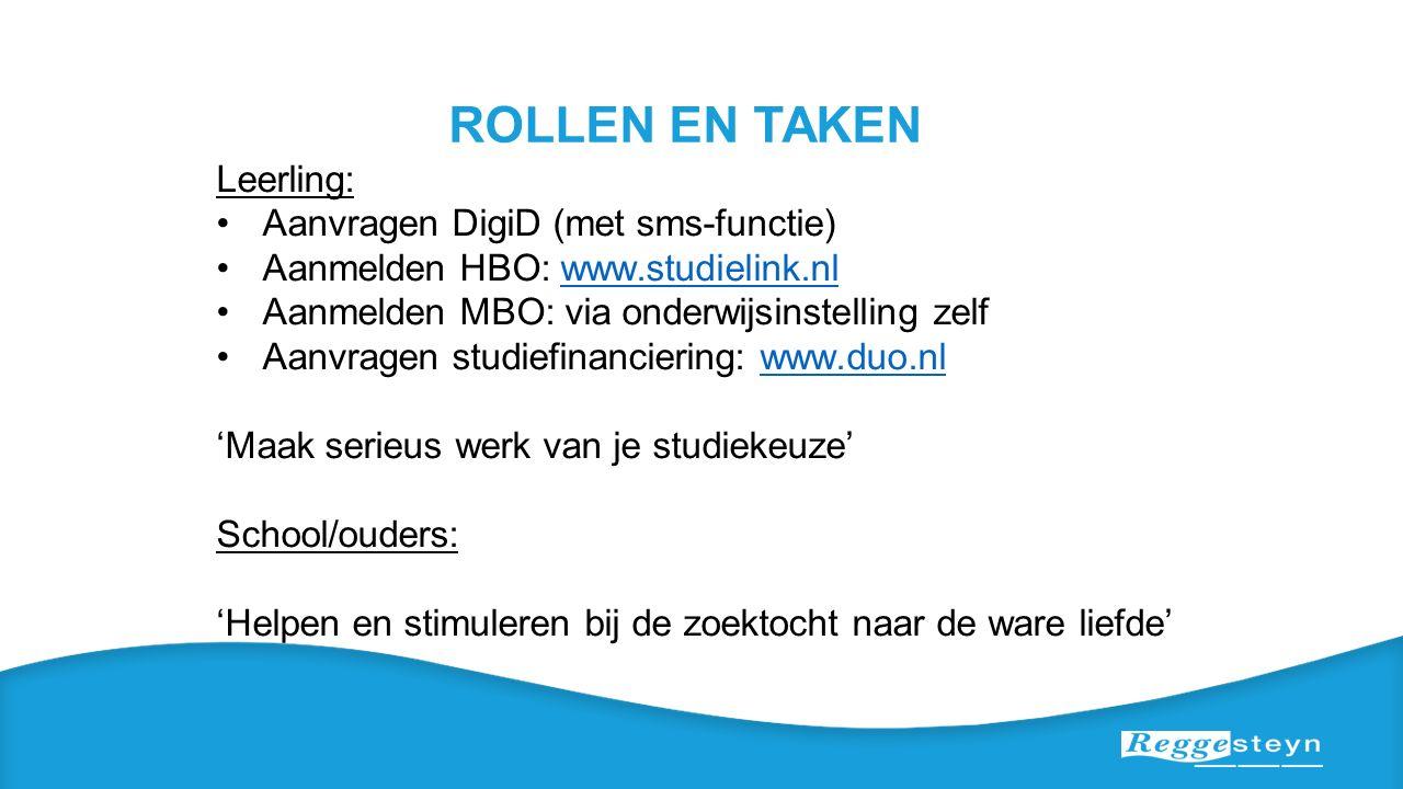 ROLLEN EN TAKEN Leerling: Aanvragen DigiD (met sms-functie) Aanmelden HBO: www.studielink.nlwww.studielink.nl Aanmelden MBO: via onderwijsinstelling z