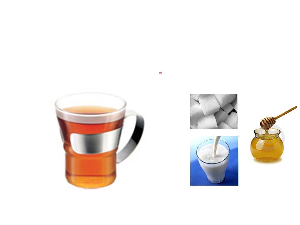 (de) thee het kopje thee thee met suiker/melk/honing