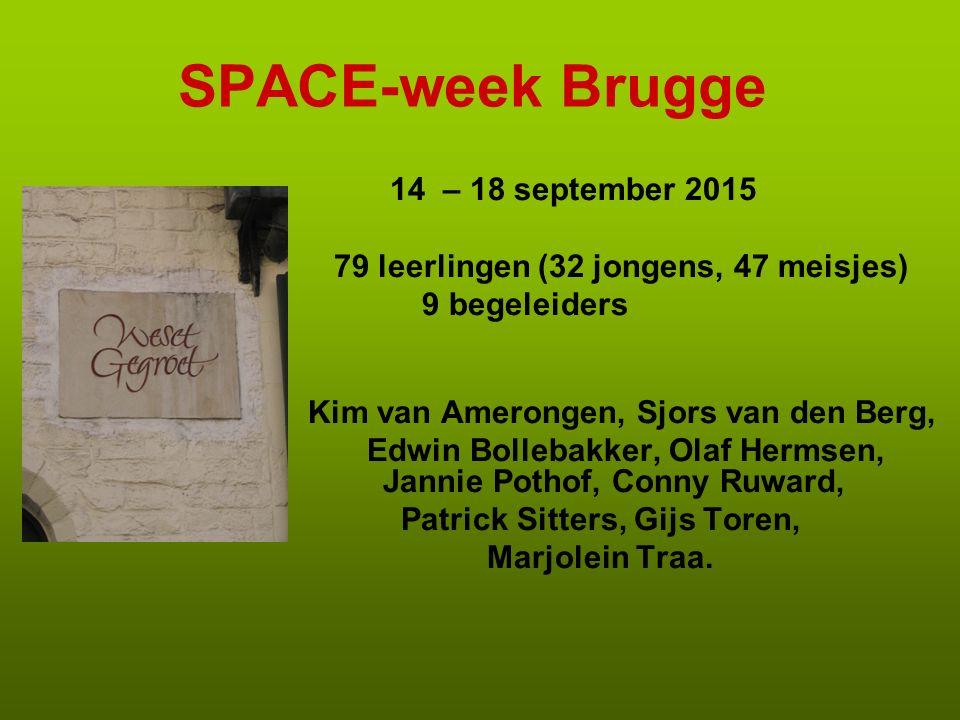 SPACE-week Brugge 14 – 18 september 2015 79 leerlingen (32 jongens, 47 meisjes) 9 begeleiders Kim van Amerongen, Sjors van den Berg, Edwin Bollebakker