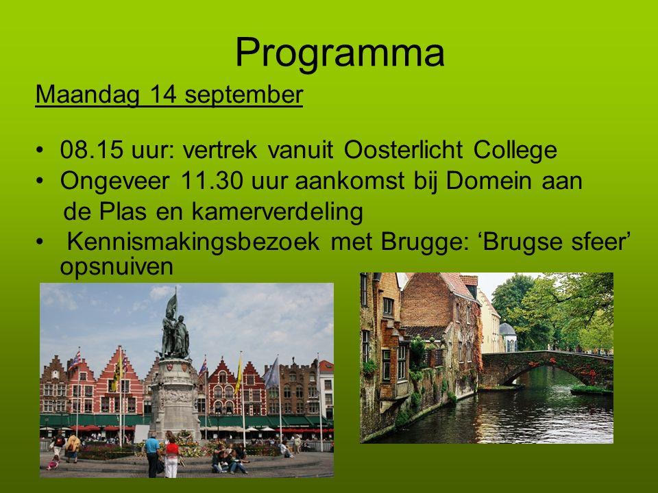 Programma Maandag 14 september 08.15 uur: vertrek vanuit Oosterlicht College Ongeveer 11.30 uur aankomst bij Domein aan de Plas en kamerverdeling Kenn