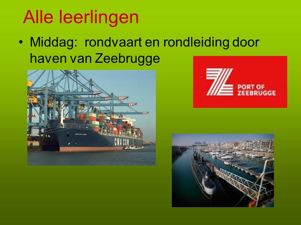 Alle leerlingen Middag: rondvaart en rondleiding door haven van Zeebrugge