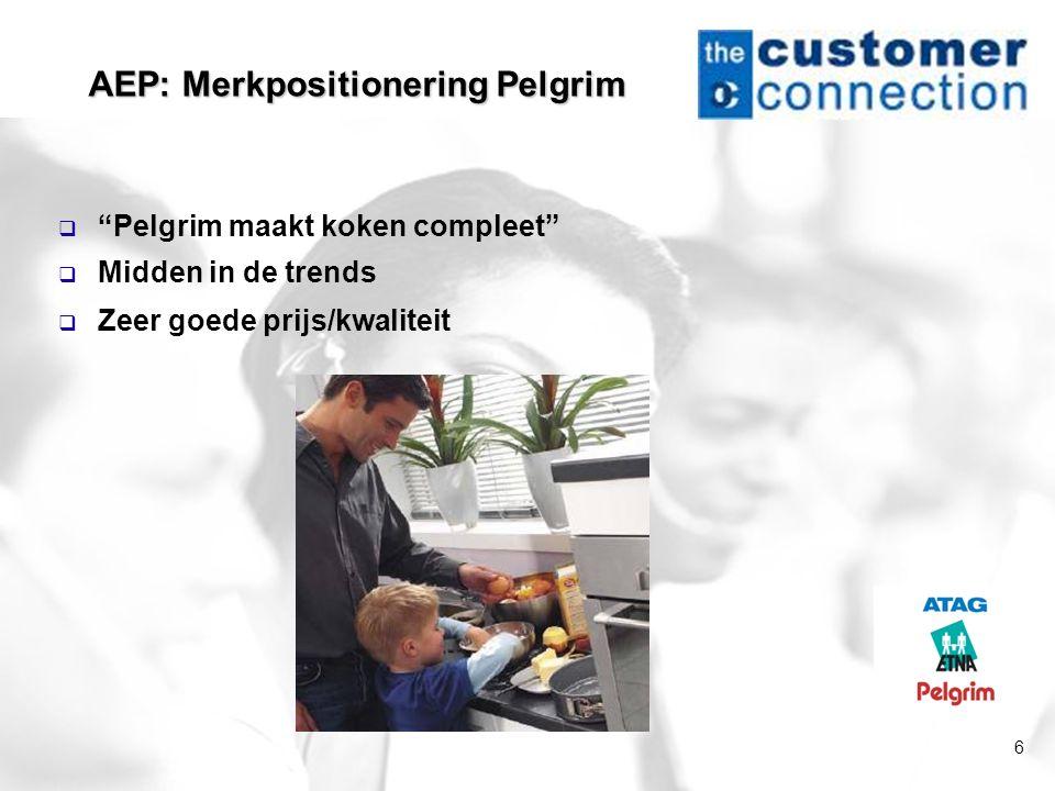 """6 AEP: Merkpositionering Pelgrim  """"Pelgrim maakt koken compleet""""  Midden in de trends  Zeer goede prijs/kwaliteit"""