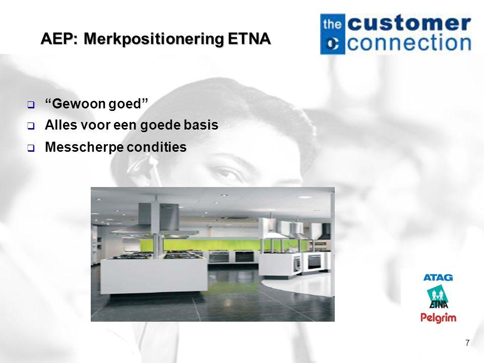 """7 AEP: Merkpositionering ETNA  """"Gewoon goed""""  Alles voor een goede basis  Messcherpe condities"""