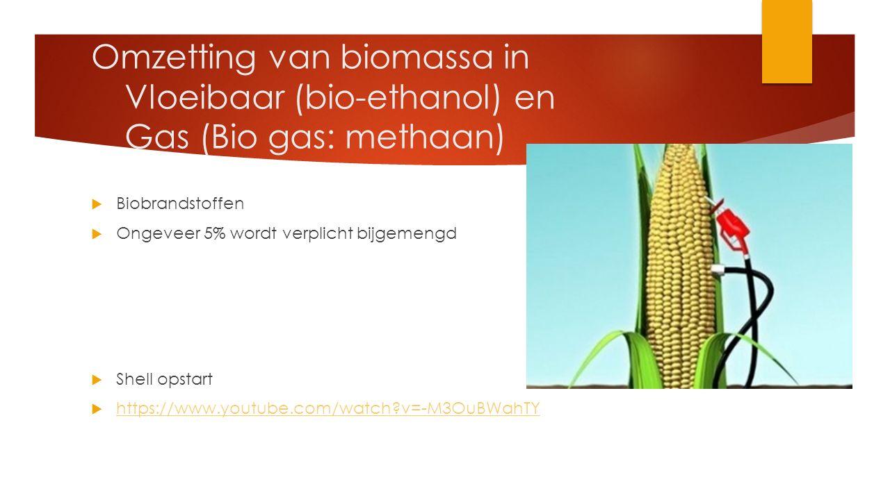 Omzetting van biomassa in Vloeibaar (bio-ethanol) en Gas (Bio gas: methaan)  Biobrandstoffen  Ongeveer 5% wordt verplicht bijgemengd  Shell opstart