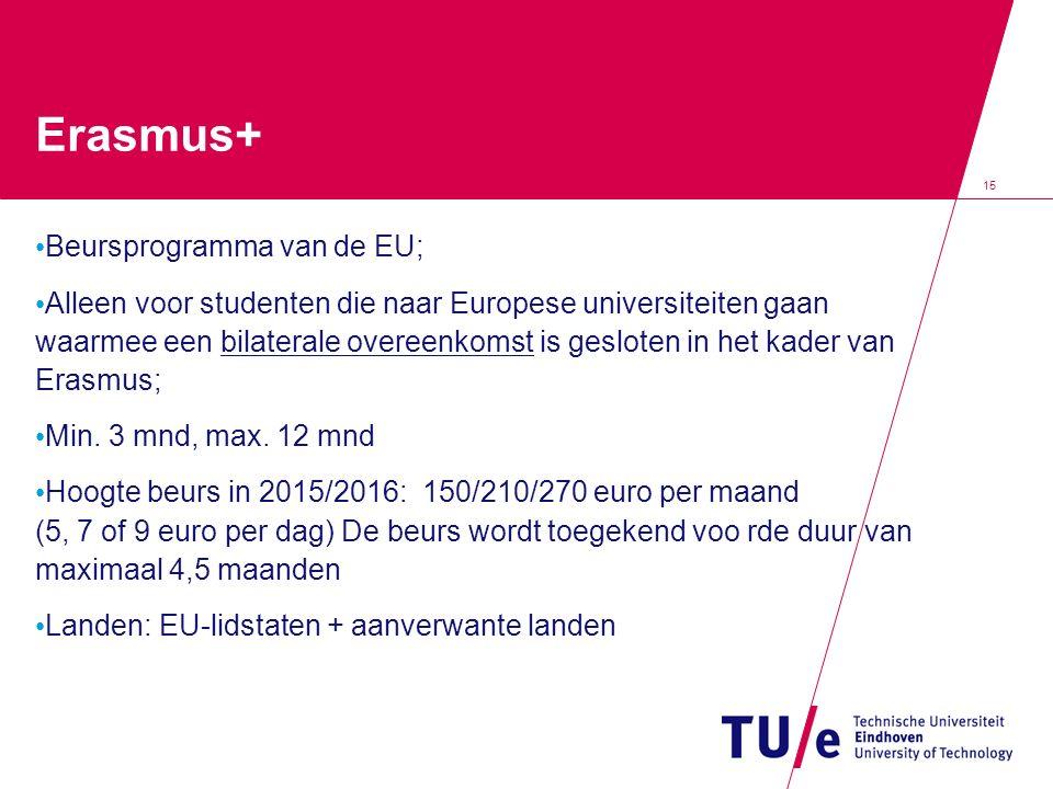 15 Erasmus+ Beursprogramma van de EU; Alleen voor studenten die naar Europese universiteiten gaan waarmee een bilaterale overeenkomst is gesloten in h