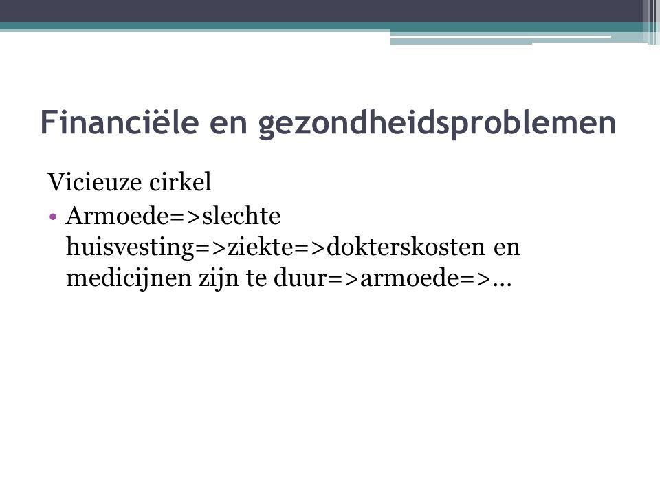 Problemen Financiële en gezondheidsproblemen Sociale en psychologische problemen