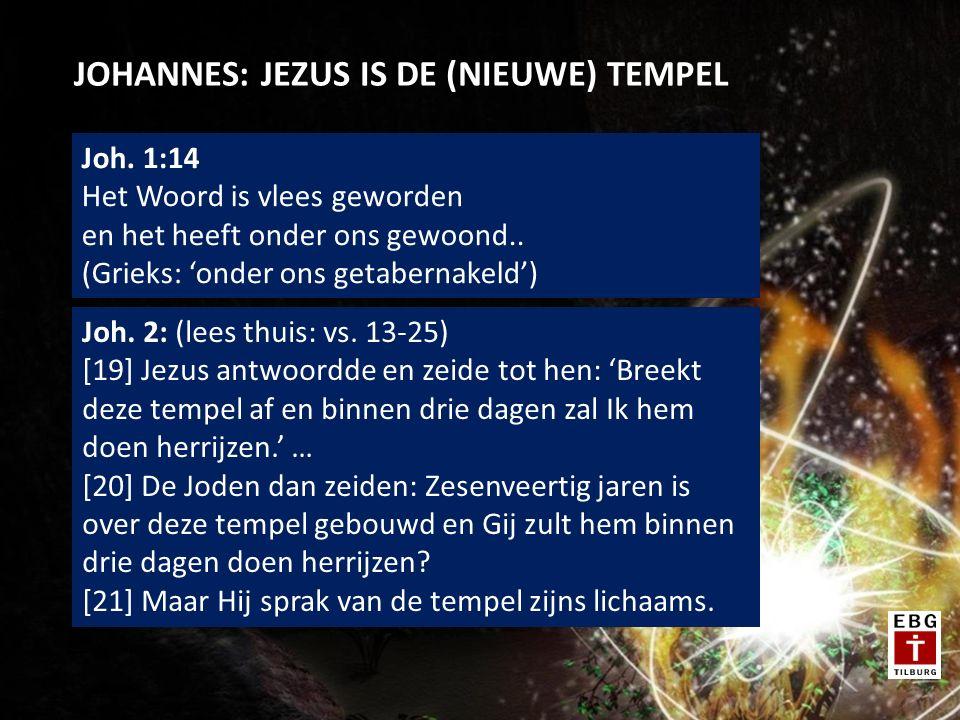 JOHANNES: JEZUS IS DE (NIEUWE) TEMPEL Joh. 1:14 Het Woord is vlees geworden en het heeft onder ons gewoond.. (Grieks: 'onder ons getabernakeld') Joh.