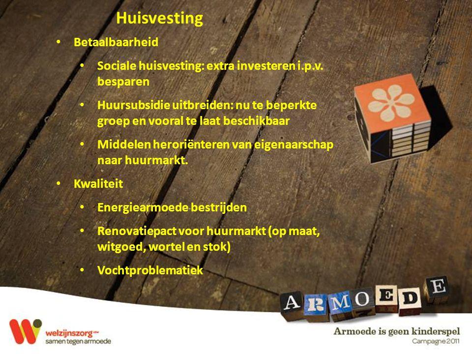 Huisvesting Betaalbaarheid Sociale huisvesting: extra investeren i.p.v.