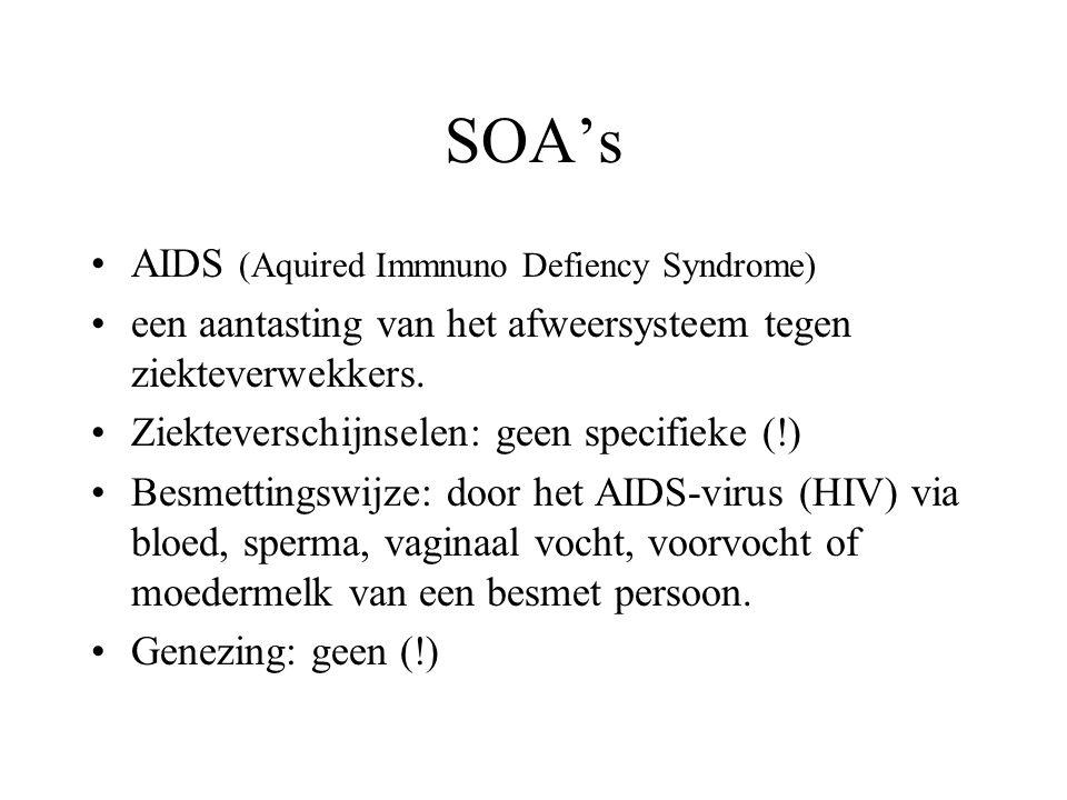 SOA's Chlamydia Ziekteverschijnselen: vaak afwezig; soms een waterige afscheiding uit de urinebuis of vagina, of bloedverlies uit de vagina. Besmettin