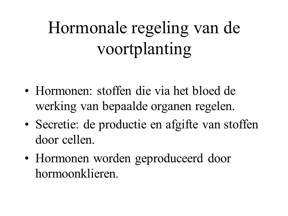 Hormonale regeling van de voortplanting Hormonen: stoffen die via het bloed de werking van bepaalde organen regelen.